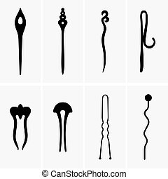 Hair pins, shade pictures