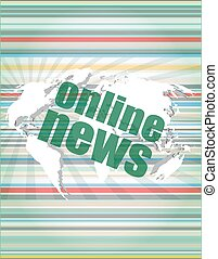 business concept: words online news on digital touch screen vector quotation marks with thin line speech bubble. concept of citation, info, testimonials, notice, textbox. flat style design