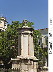 Lysikrates monument and Tripodon square at Plaka, Athens,...