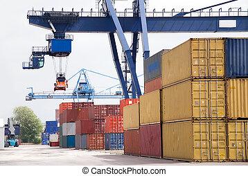 container crane - cargo container with crane
