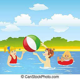 fun in the water, - composition of children who play in the...