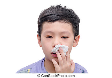 boy wipe blood from his nose by tissue paper