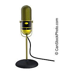 vendimia, dorado, micrófono