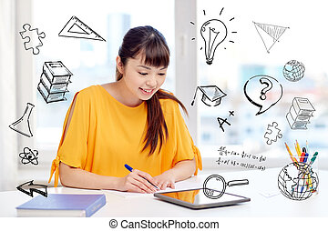 asian woman student with tablet pc at home - people,...