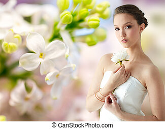 beautiful asian woman with flower and jewelry - beauty,...