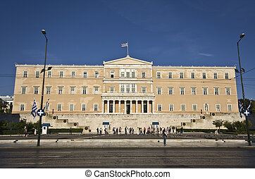 The Greek parliament and the unknow - Panathenaic stadium at...