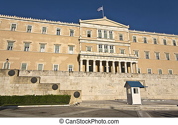 The Greek parliament and the unknown soldier tomb at Athens,...