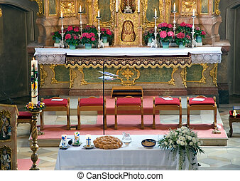 bavarian church interior - church inerior with altar and...