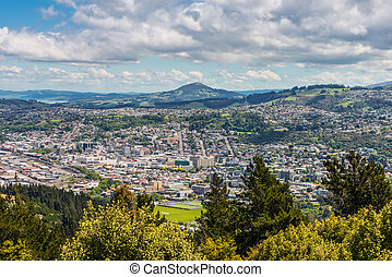 Dunedin seen from the peak of Signal Hill, New Zealand -...