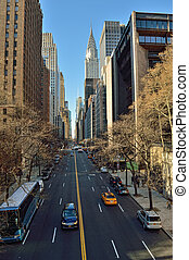 NYC streets Midtown Manhattan - 42nd Street with Chrysler...