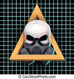 Human skull with visual Anaglyph stereoscopic effect -...