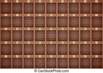 Vintage hotel front desk key rack. - Vector Background of...