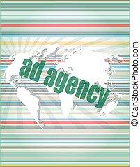 Pixeled word Ad agency on digital screen 3d render vector...