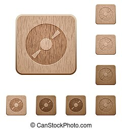 DVD wooden buttons - Set of carved wooden DVD buttons in 8...