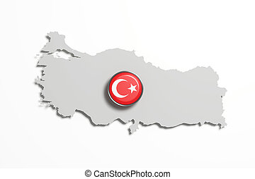 Silhouette of Turkey map with flag on button - 3d rendering...