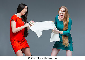 Two angry women quarreling and fighting for white dress -...