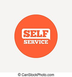 Self service sign icon Maintenance button Orange circle...