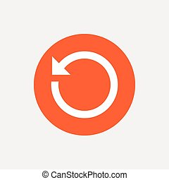 Repeat icon. Refresh symbol. Loop sign. Orange circle button...