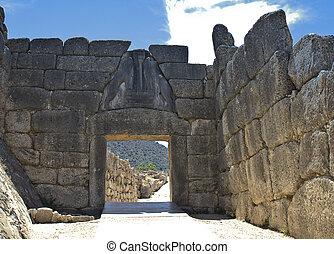 antiguo, Mycenae, puerta, leones