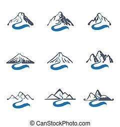 Mountain river logo set, vector icon illustration - Mountain...