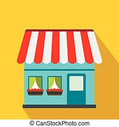 Shop building icon, flat style