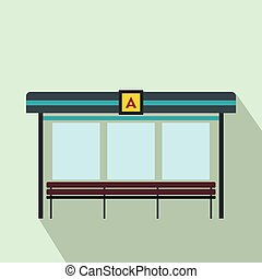 Bus station icon, flat style - Bus station icon in flat...