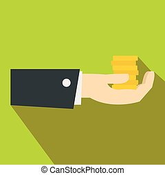 Hand giving money icon, flat style