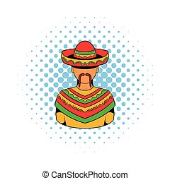 Mexican man icon, comics style - Mexican man icon in comics...