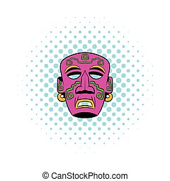 Tribal mask icon, comics style - Tribal mask icon in comics...