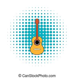 Acoustic guitar icon in comics style on a white background