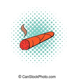Cigar icon in comics style on a white background