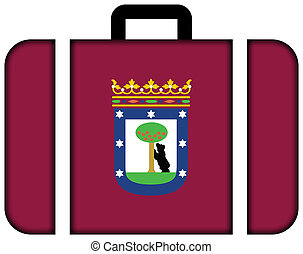 Flag of Madrid. Suitcase icon, travel and transportation concept