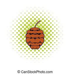 Cedar cone icon, comics style - Cedar cone icon in comics...