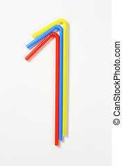 Plastic drinking straws - Three plastic bendy drinking...