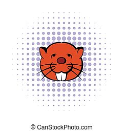 Head of beaver icon, comics style - Head of beaver icon in...