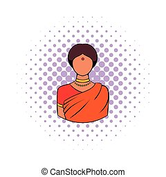 Indian woman in traditional Indian sari icon in comics style...