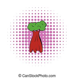 Baobab tree icon, comics style - Baobab tree icon in comics...