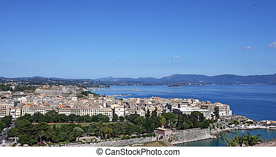 Corfu town cityscape summer season