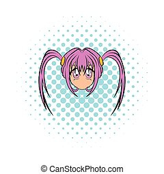 Anime girl icon in comics style on a white background