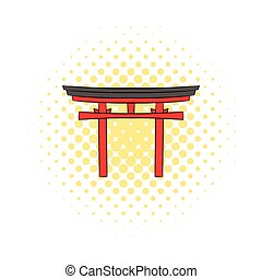 Japan gate icon in comics style on a white background
