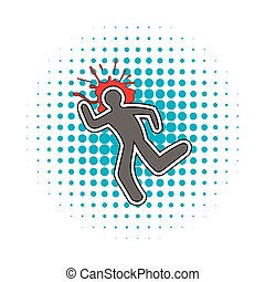 Chalk line and a blood splat icon, comics style