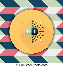 magnetic fields flat icon with long shadow,eps10
