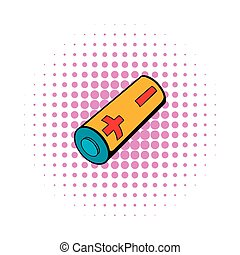 Electronic cigarette battery icon, comics style