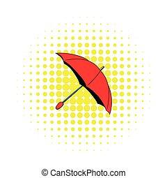 Red umbrella icon, comics style - Red umbrella icon in...