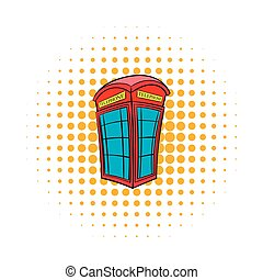 British red phone booth icon, comics style