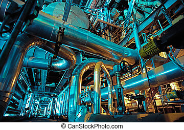 Industrial zone, Steel pipelines, valves and tanks -...
