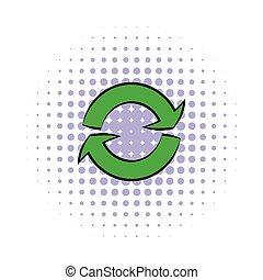 Green circular arrows icon, comics style