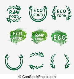 Hand draw logotypes set. Green logo, watercolor labels, plants elements. Organic logo. Hand drawing letters. Vector illustration
