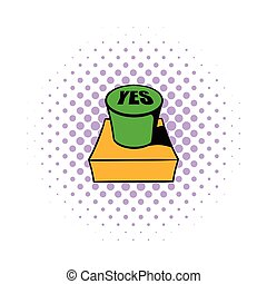 Yes green button icon, comics style