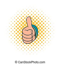 Thumb up gesture icon, comics style - Thumb up gesture icon...